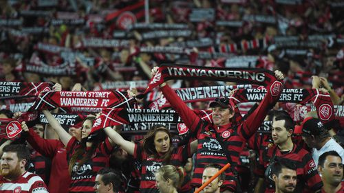 Western Sydney Wanderers fans at the local derby against Sydney FC at Allianz Stadium in 2014.
