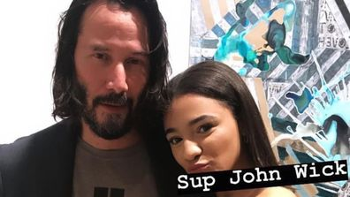 Keanu Reeves and a fan.