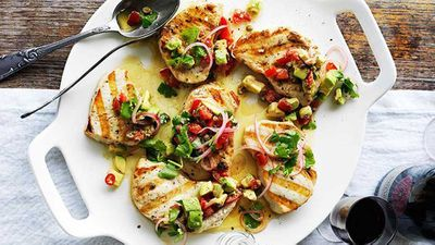 Swordfish steaks with avocado salsa