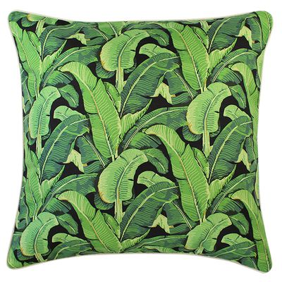 "Banana leaf cushion $79.95, <a href=""http://www.escapetoparadise.com.au/tropical-range/"" target=""_blank"">Escape to Paradise</a>."