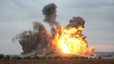 The blast presumably killed everyone in the vicinity. (AFP)