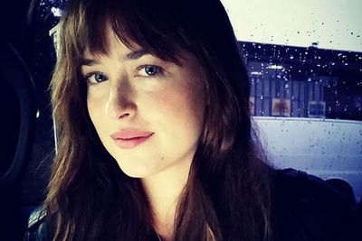 Loving that sweet trademark Anastasia Steele smirk, Dakota.<br/><br/>Image: Instagram/@samtaylorjohnson