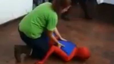 "<p _tmplitem=""1"">This Argentinian entertainer may be considering a change of career after receiving more laughs when knocked out than conscious at a children's birthday party. </p><p _tmplitem=""1""> Footage of the mother-of-all party fails shared on <a _tmplitem=""1"" href="" http://www.liveleak.com/view?i=d30_1432358146 "">LiveLeak</a> overnight shows the man, dressed as Spider-Man, knocking himself out cold after attempting to do a standing backflip. </p><p _tmplitem=""1""> The younger guests roar with laughter as the adults race to his aid</p><p _tmplitem=""1""> According to the video's uploader, the unfortunate but evidently crowd-pleasing stunt took place in Argentina, where the Marvel favourite is known as El Sorprendente Hombre-Araña. </p><p _tmplitem=""1""> It's not clear if the man suffered any injuries in the face plant, although we're nervous to think of what he looked like under that mask afterwards.</p><p _tmplitem=""1""> Click through to watch Spidey and more birthday party fails.</p>"