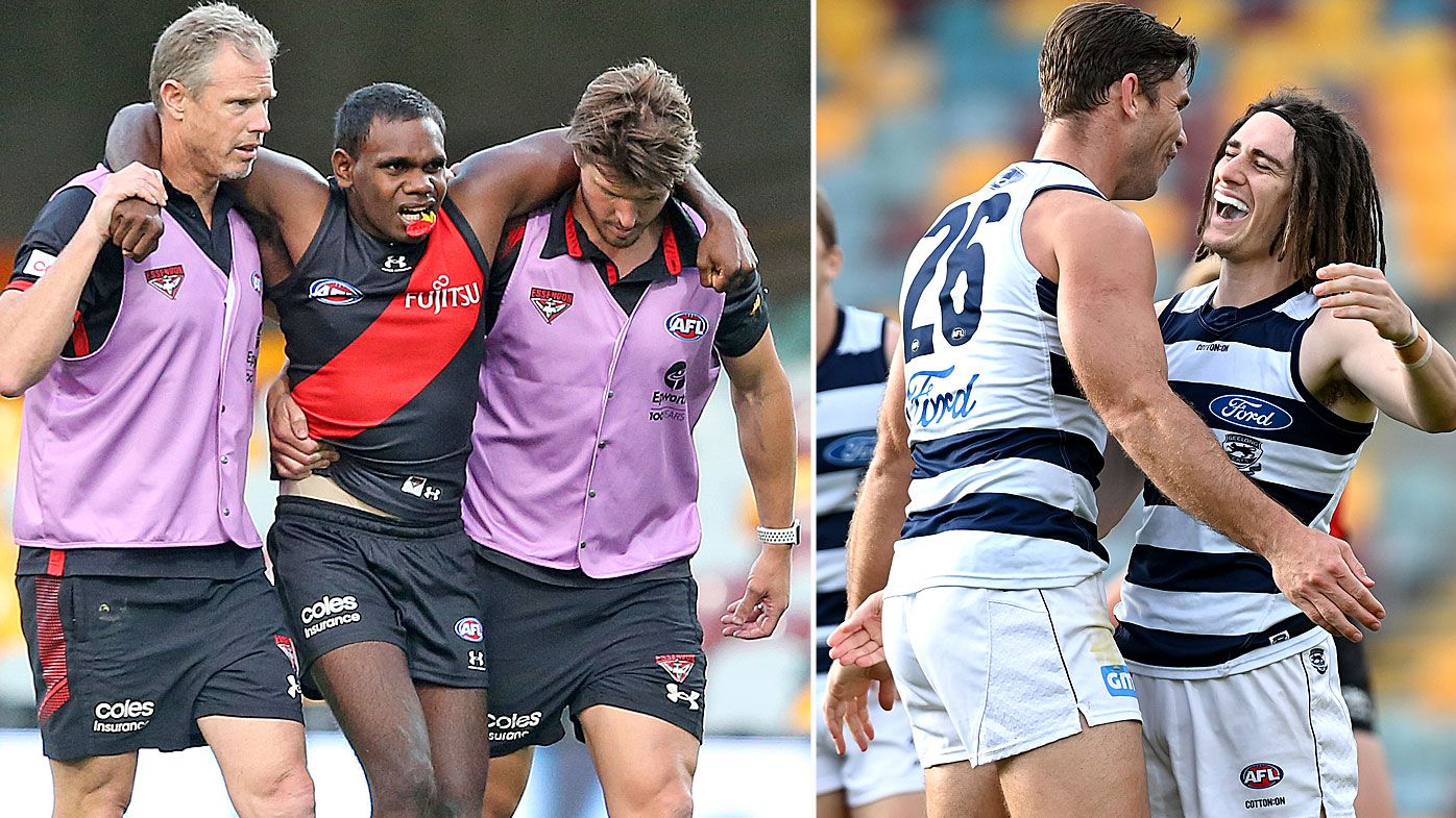 Essendon Bombers star Irving Mosquito limps off as Geelong Cats claim sixth-straight win