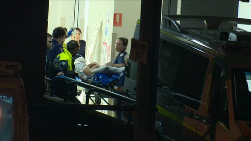 A manhunt in underway in Sydney's west this morning, after a 31-year-old man was stabbed in the stomach.