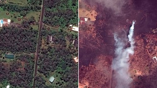 Properties and agricultural land before and after Kilauea began erupting on May 3. (DigitalGlobe)