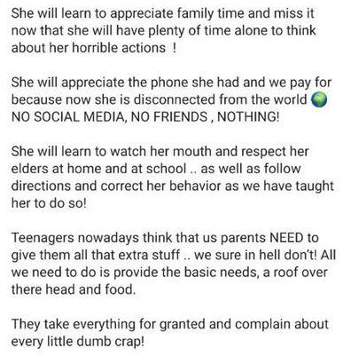 Internet furious over mum's 'tough love' punishment for misbehaving teen