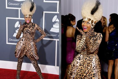 Nicki Minaj's top-to-toe leopard print paired with her Bride of Frankenstein-esque pouf failed to rate for TheFIX. <br/><br/>Or anyone else for that matter.