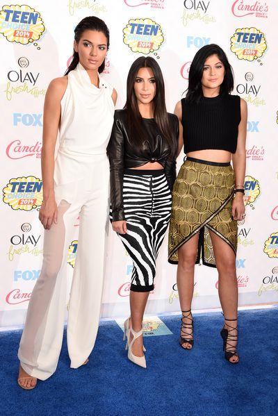 Kendall Jenner, Kim Kardashian and Kylie Jenner at the 2014 Kids Choice Awards