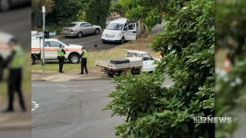 The ute smashed into a light pole in Kenihans Road in Happy Valley just after 8. (9NEWS)