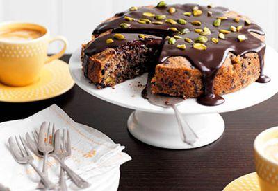 Dark chocolate, pear and pistachio cake
