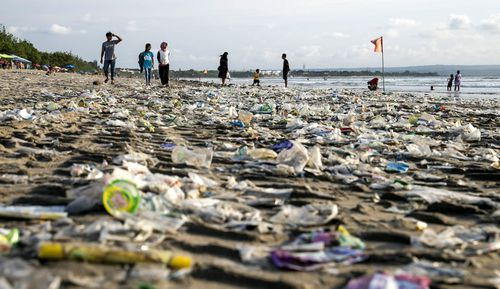 Plastic washed up on Bali beaches