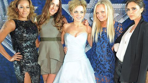 Melanie B, Melanie C, Emma Bunton, Victoria Beckham and Geri Halliwell posing for <i>Viva Forever</i> at the Piccadilly Theatre on December 11, 2012 in London