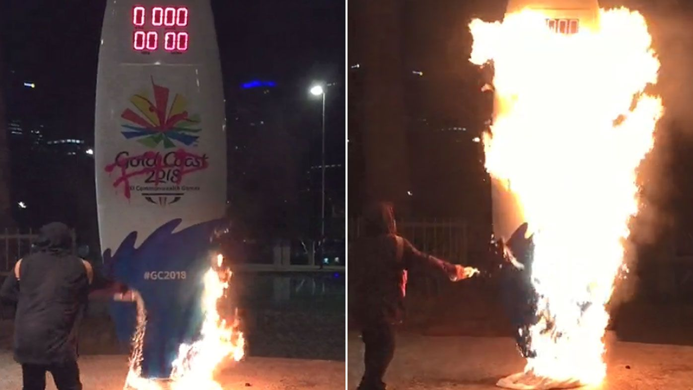 Commonwealth Games timer set alight over protest arrests
