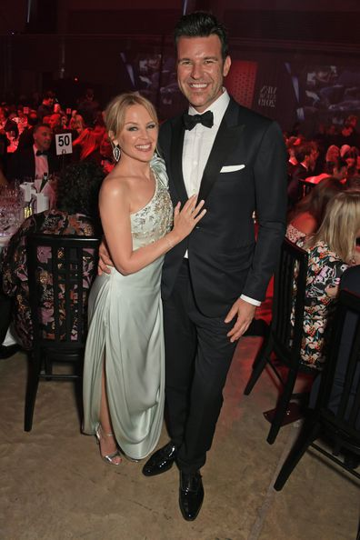 Kylie Minogue and Paul Solomons attend the the GQ Men Of The Year Awards 2019