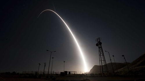 The Minuteman 3 missile is launched from a base in the US. (AAP)