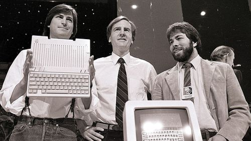 Steve Jobs, chairman of Apple Computers, John Sculley, president and CEO, and Steve Wozniak, co-founder of Apple in April 1984. (AAP)