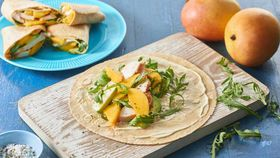 Smoked chicken and mango wrap