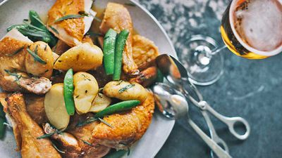 "Recipe: <a href=""http://kitchen.nine.com.au/2017/07/04/14/19/matt-morans-roasted-chicken-with-kipfler-potatoes-and-tarragon"" target=""_top"" draggable=""false"">Matt Moran's roast chicken and kipflers</a>"