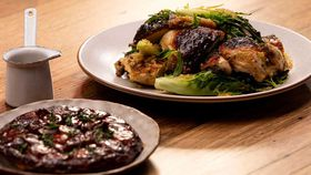 Matt Moran's Family Food Fight roast chook, chargrilled baby gems and shallot tarte tatin