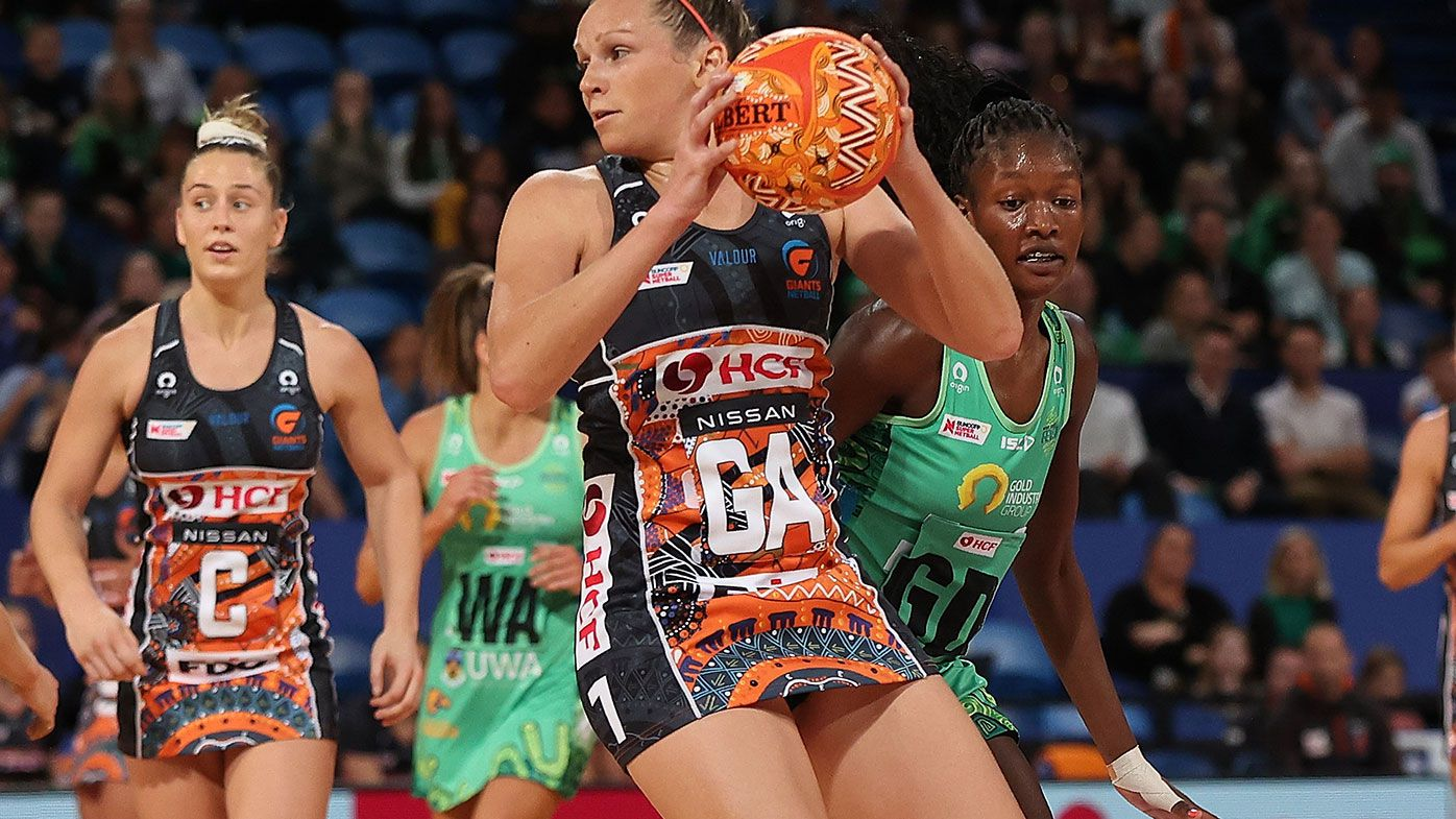 Jo Harten in action for the Giants during the match against the Fever.
