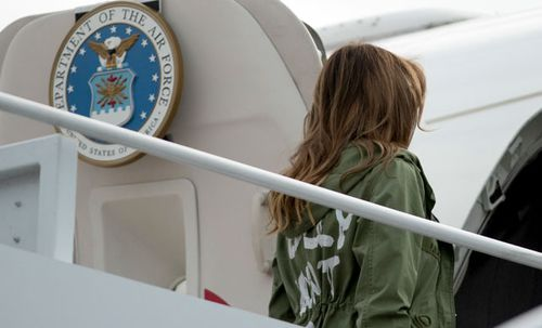 "Mrs Trump boarded her plane wearing a jacket that read ""I really don't care, do u?"". Photo: AP"