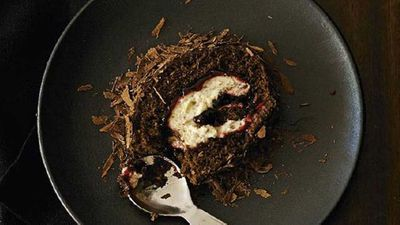 "Recipe:&nbsp;<a href=""https://kitchen.nine.com.au/2016/05/17/11/15/black-forest-roulade"" target=""_top"">Black forest roulade</a>"