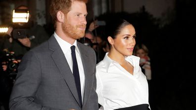 Britain's Prince Harry and Meghan, Duchess of Sussex arrive at the annual Endeavour Fund Awards in London, Thursday, Feb. 7, 2019.