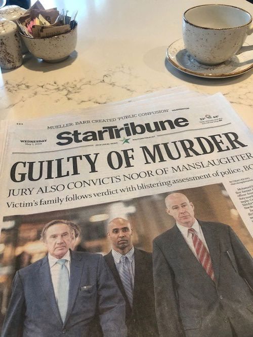 The Star Tribune's front page after the verdict
