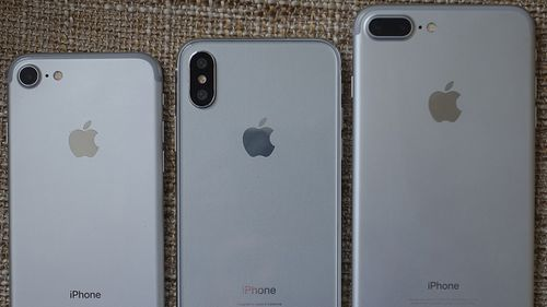 """""""Three new phones? Could this case maker """"mock up"""" (centre) be the Tenth anniversary iPhone?"""" (Supplied)"""