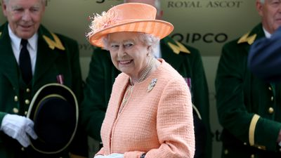 <p>Queen Elizabeth II donned a peach dress suit for day five of the Royal Ascot meeting. (AAP) </p>