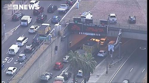 Traffic around the Sydney Harbour Tunnel is still heavy.