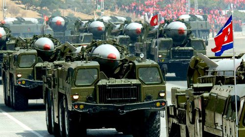 North Korea shows off Scud missiles during a  past parade in Pyongyang. (AAP)