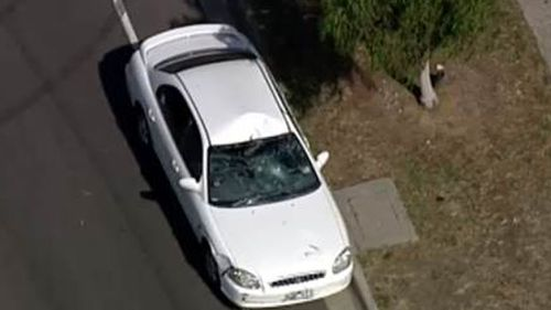 The boy was hit outside Mill Park Secondary School this afternoon. (9NEWS)