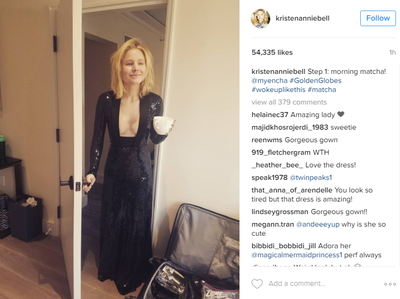 <p>'Step one - morning matcha', declared Kristen Bell on her Instagram account. Fans loved her dress but were a little concerned about how tired she looked. Hello! This is pre-makeup people.</p> <p>Image: <em>Instagram</em>/@kristenanniebell</p>