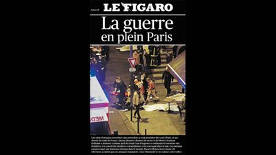 French newspaper <em>Le Figaro</em> ran 'The ground war in Paris'.