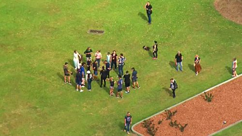 A group of over a dozen people, appearing to be unmasked, also gathered at nearby at New Farm Park just before 12pm with a man being arrested nearby.