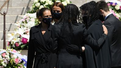 (L-R) Princess Stephanie of Monaco, Pauline Ducruet, Princess Caroline of Hanover, Melanie Antoinette de Massy and Louis Ducruet leave the Monaco Cathedral after Elizabeth-Ann De Massy's Funerals on June 17, 2020 in Monaco, Monaco