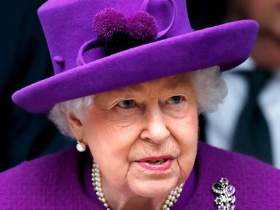 Queen Elizabeth in purple
