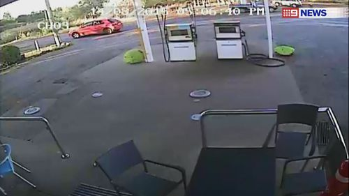 A red Toyota matching that of Brenden Bennetts was captured on CCTV on August 14 near Gatton. (9NEWS)