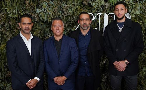 From left: Swans great Michael O'Loughlin; Stan Grant;  Adam Goodes; and NBA star Ben Simmons, who was an executive producer on the film.