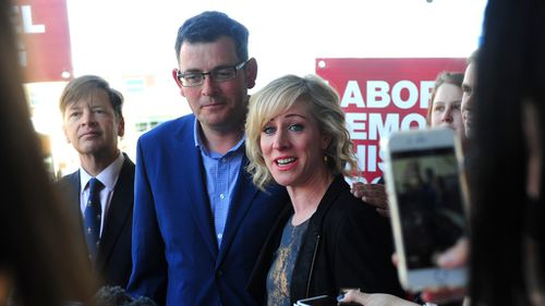Daniel Andrews' wife Catherine has taken time away from her career as a writing and editing historian to join her husband on the campaign trail. (AAP)