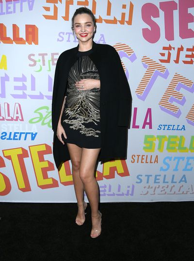 Mirand Kerr in a Stella McCartney embellished mini dress at Stella McCartney's Autumn 2018 Collection Launch in Los Angeles.