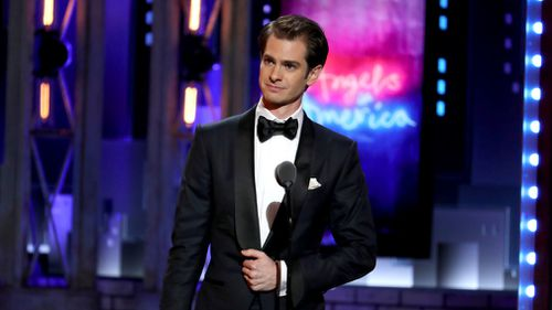 "Andrew Garfield received an award for best leading actor in the ""Angels in America"" play. Picture: AP"