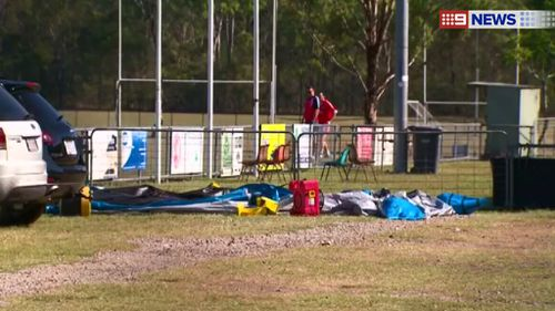 Toddler injured in 8m fall from airborne jumping castle south of Brisbane