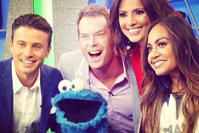 @jessicamauboy1: Repost from the always lovely @james_tobin! #CookieMonster and I had a great time on the #TheDailyEdition today so thank you so much! xx Jm