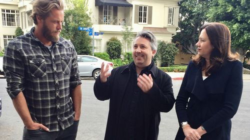 Australian actor Travis Fimmel, screenwriter Stuart Beattie and Queensland Premier Annastacia Palaszczuk are seen in West Hollywood. (AAP)
