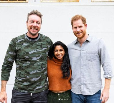 Prince Harry with Dax Shepard and Monica Padman.