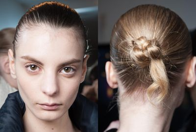<p>Pull hair back into a tight bun as seen at Jonathan Saunders Fall 2015. Getting it wet will only add to the sleek look.</p>