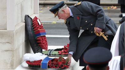 Prince Charles lays a wreath on Remembrance Sunday
